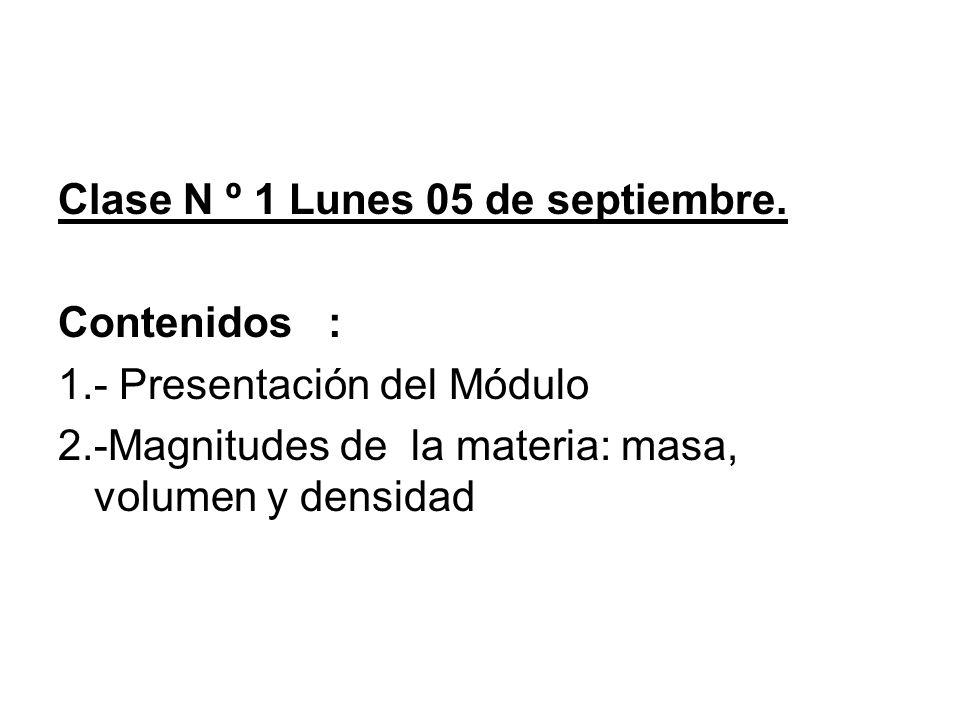 Clase N º 1 Lunes 05 de septiembre. Contenidos : 1.- Presentación del Módulo 2.-Magnitudes de la materia: masa, volumen y densidad