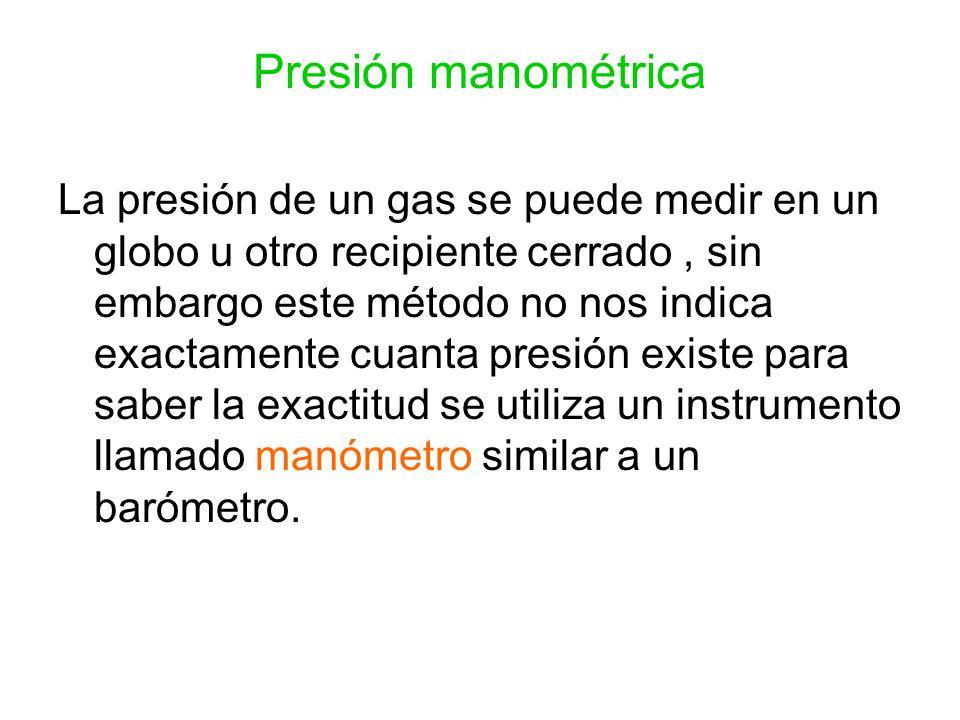 Presión manométrica La presión de un gas se puede medir en un globo u otro recipiente cerrado, sin embargo este método no nos indica exactamente cuant
