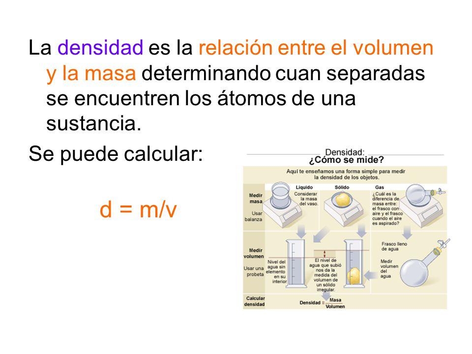 La densidad es la relación entre el volumen y la masa determinando cuan separadas se encuentren los átomos de una sustancia. Se puede calcular: d = m/