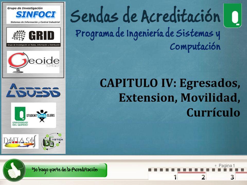 Pagina 1 CAPITULO IV: Egresados, Extension, Movilidad, Currículo