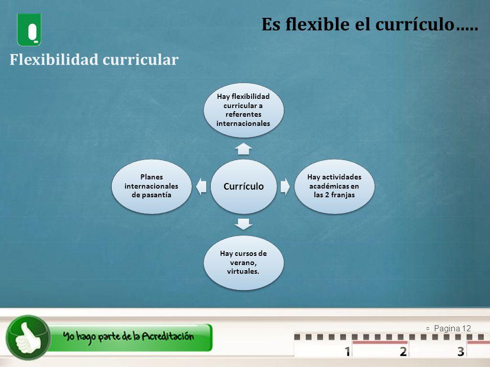 Pagina 12 Currículo Hay flexibilidad curricular a referentes internacionales Hay actividades académicas en las 2 franjas Hay cursos de verano, virtual