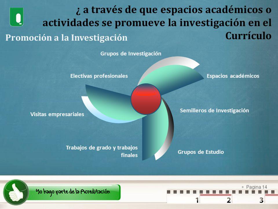 Pagina 14 ¿ a través de que espacios académicos o actividades se promueve la investigación en el Currículo Promoción a la Investigación Grupos de Inve