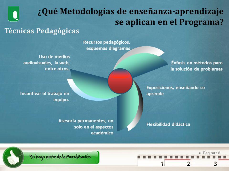Pagina 16 ¿Qué Metodologías de enseñanza-aprendizaje se aplican en el Programa? Técnicas Pedagógicas Uso de medios audiovisuales, la web, entre otros.