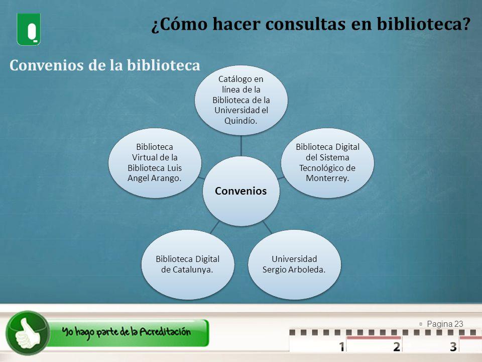 Pagina 23 ¿Cómo hacer consultas en biblioteca? Convenios de la biblioteca Convenios Catálogo en línea de la Biblioteca de la Universidad el Quindío. B