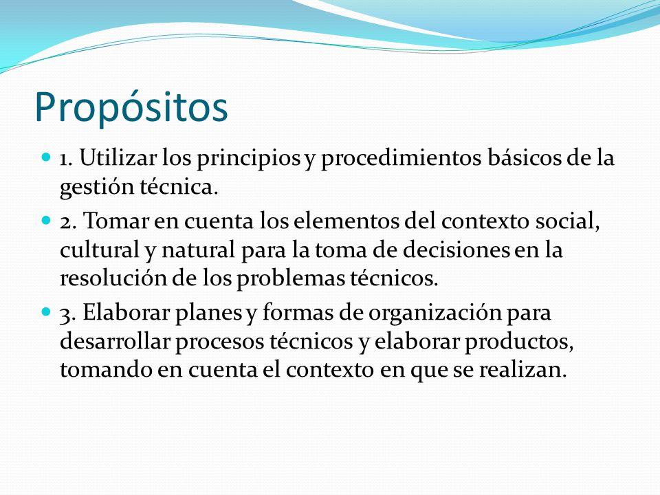 Propósitos 1. Utilizar los principios y procedimientos básicos de la gestión técnica. 2. Tomar en cuenta los elementos del contexto social, cultural y