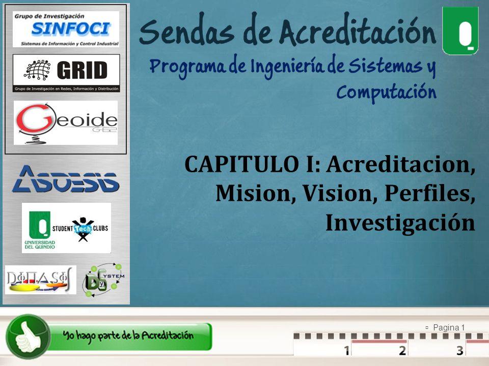 Pagina 1 CAPITULO I: Acreditacion, Mision, Vision, Perfiles, Investigación