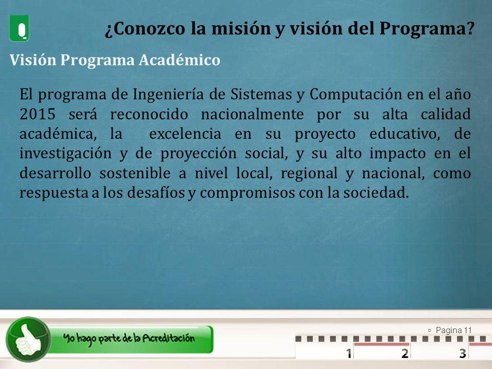 Pagina 11 ¿Conozco la misión y visión del Programa? Visión Programa Académico El programa de Ingeniería de Sistemas y Computación en el año 2015 será