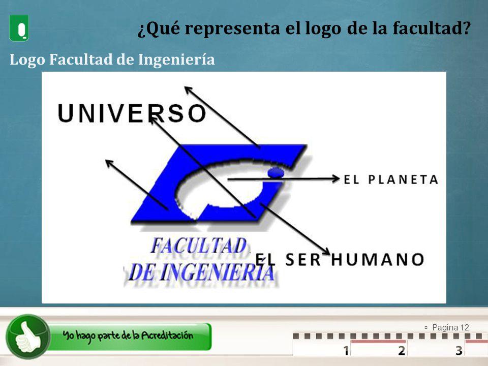 Pagina 12 ¿Qué representa el logo de la facultad? Logo Facultad de Ingeniería