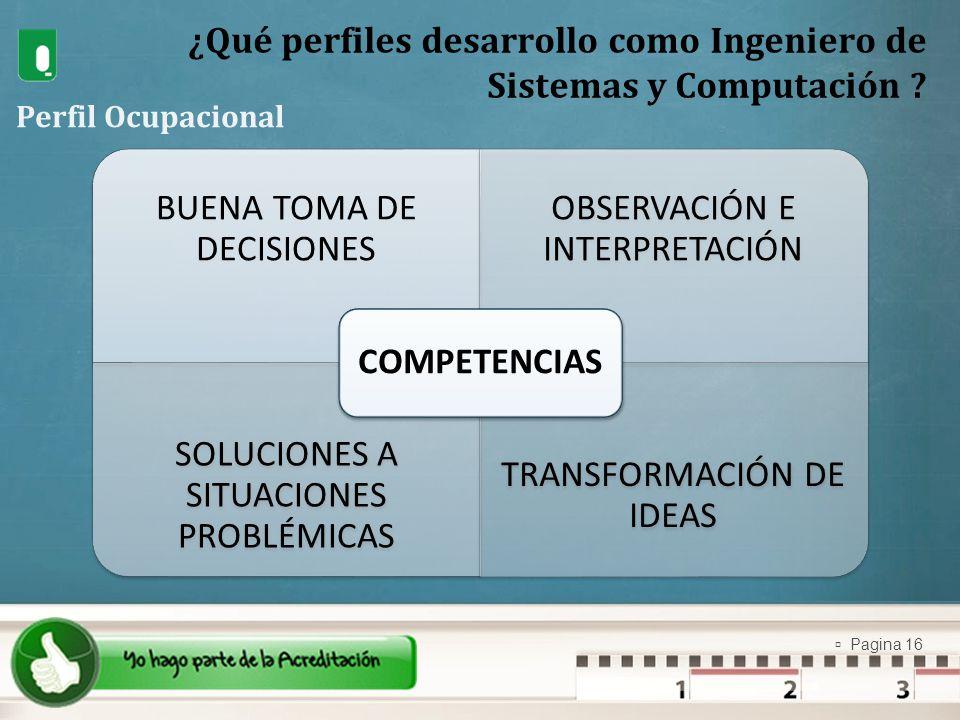 Pagina 16 ¿Qué perfiles desarrollo como Ingeniero de Sistemas y Computación ? Perfil Ocupacional BUENA TOMA DE DECISIONES OBSERVACIÓN E INTERPRETACIÓN