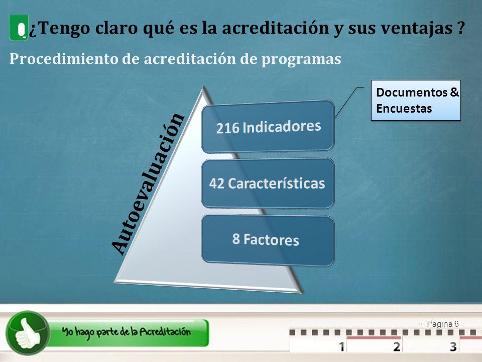 Pagina 6 ¿Tengo claro qué es la acreditación y sus ventajas ? Procedimiento de acreditación de programas Documentos & Encuestas Documentos & Encuestas