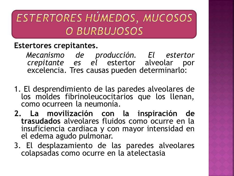 Estertores crepitantes. Mecanismo de producción. El estertor crepitante es el estertor alveolar por excelencia. Tres causas pueden determinarlo: 1. El