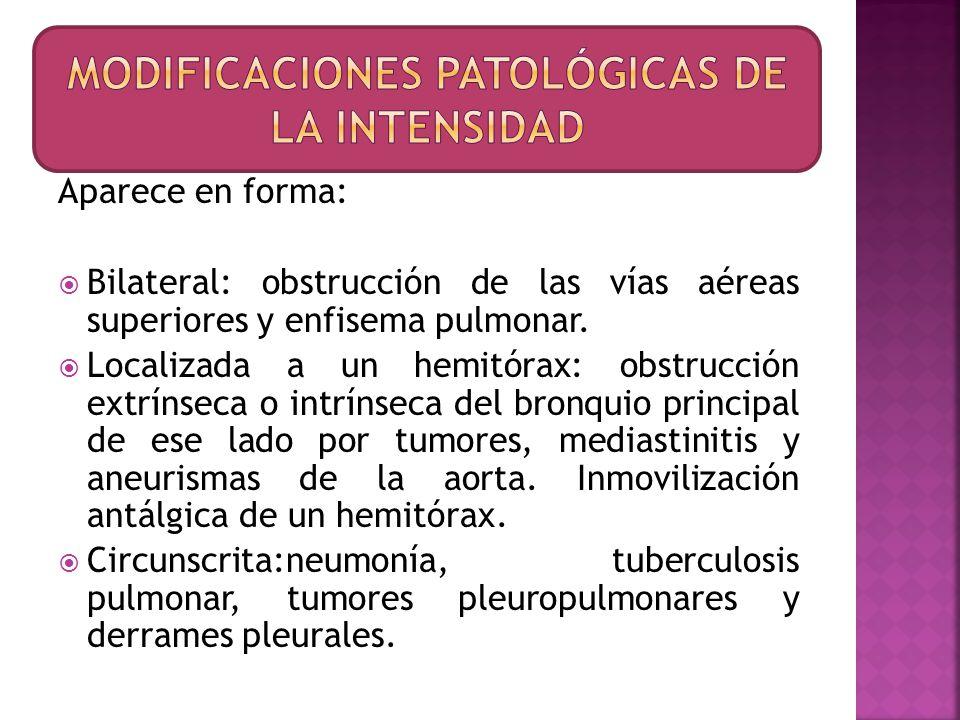 Aparece en forma: Bilateral: obstrucción de las vías aéreas superiores y enfisema pulmonar. Localizada a un hemitórax: obstrucción extrínseca o intrín