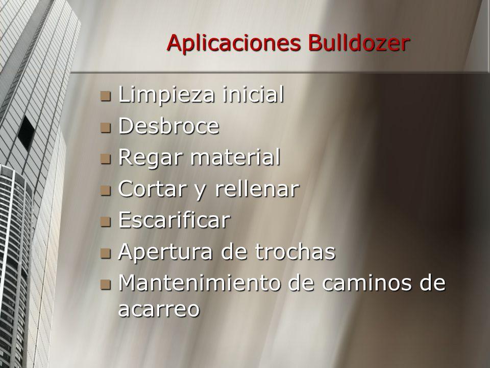 Aplicaciones Bulldozer Limpieza inicial Limpieza inicial Desbroce Desbroce Regar material Regar material Cortar y rellenar Cortar y rellenar Escarific