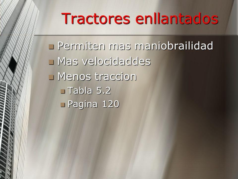 Tractores enllantados Permiten mas maniobrailidad Permiten mas maniobrailidad Mas velocidaddes Mas velocidaddes Menos traccion Menos traccion Tabla 5.