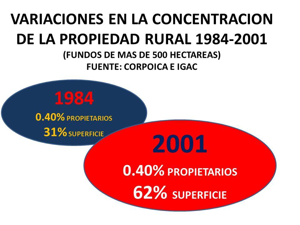 1984 0.40% PROPIETARIOS 31% SUPERFICIE 2001 0.40% PROPIETARIOS 62% SUPERFICIE VARIACIONES EN LA CONCENTRACION DE LA PROPIEDAD RURAL 1984-2001 (FUNDOS DE MAS DE 500 HECTAREAS) FUENTE: CORPOICA E IGAC