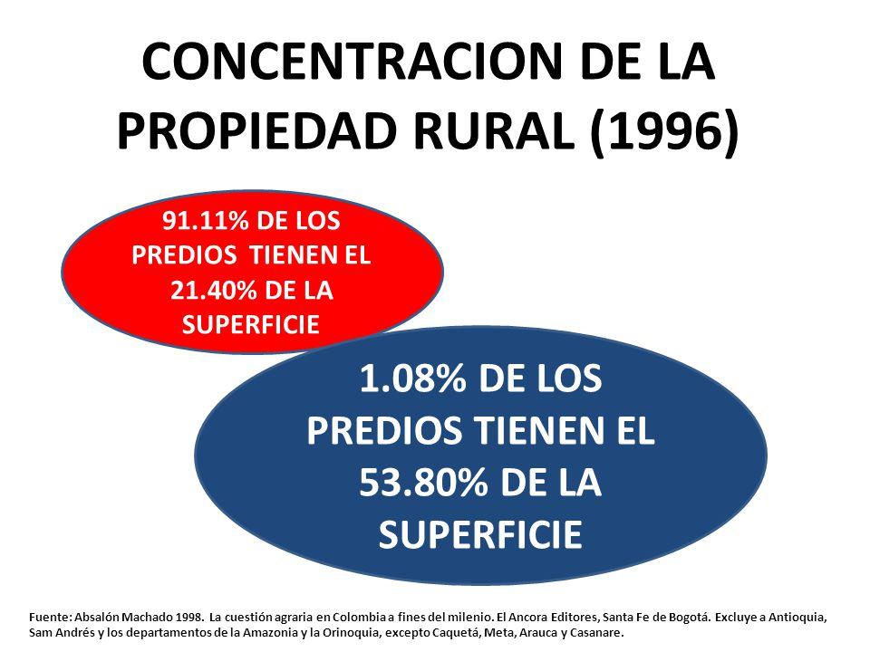 CONCENTRACION DE LA PROPIEDAD RURAL (1996) 91.11% DE LOS PREDIOS TIENEN EL 21.40% DE LA SUPERFICIE 1.08% DE LOS PREDIOS TIENEN EL 53.80% DE LA SUPERFICIE Fuente: Absalón Machado 1998.