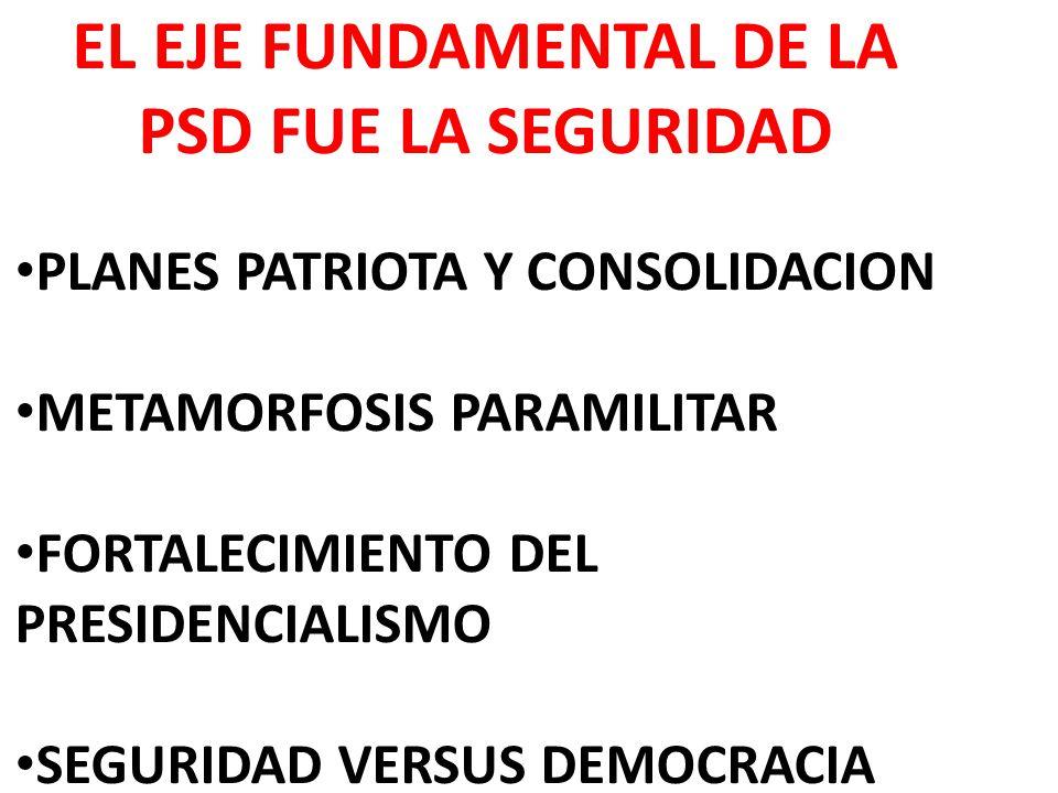 EL EJE FUNDAMENTAL DE LA PSD FUE LA SEGURIDAD PLANES PATRIOTA Y CONSOLIDACION METAMORFOSIS PARAMILITAR FORTALECIMIENTO DEL PRESIDENCIALISMO SEGURIDAD VERSUS DEMOCRACIA