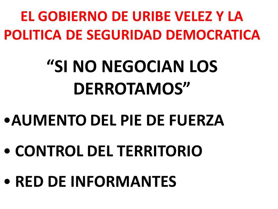 EL GOBIERNO DE URIBE VELEZ Y LA POLITICA DE SEGURIDAD DEMOCRATICA SI NO NEGOCIAN LOS DERROTAMOS AUMENTO DEL PIE DE FUERZA CONTROL DEL TERRITORIO RED DE INFORMANTES