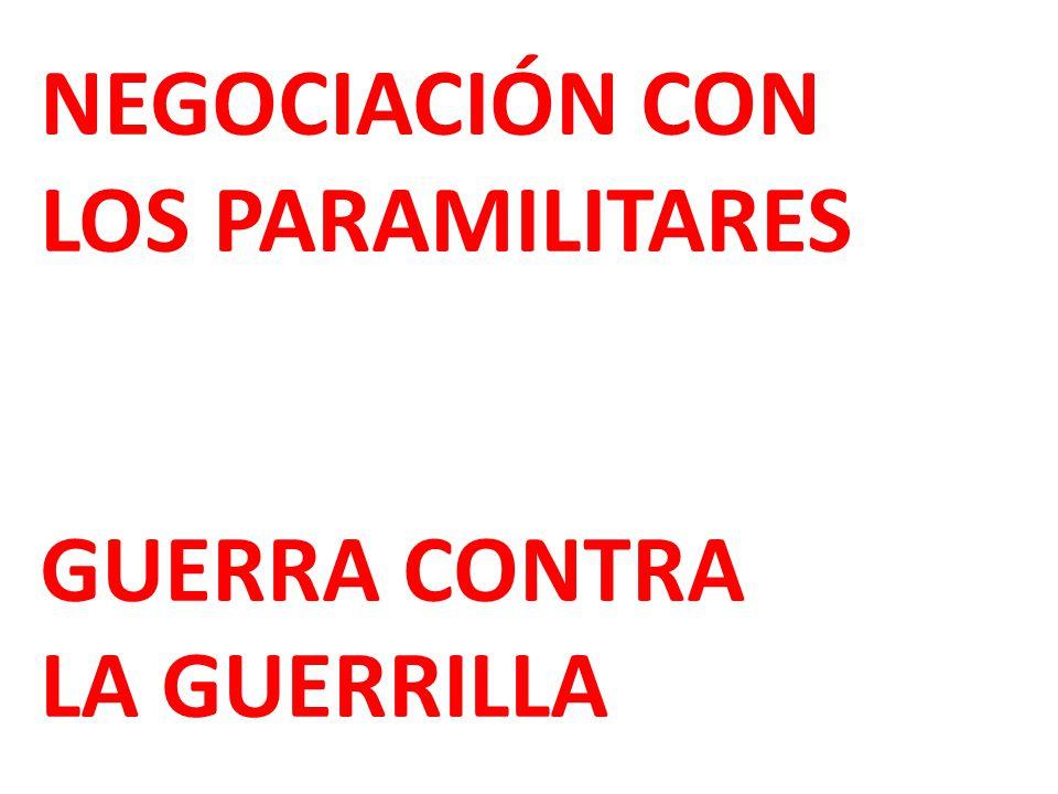 NEGOCIACIÓN CON LOS PARAMILITARES GUERRA CONTRA LA GUERRILLA