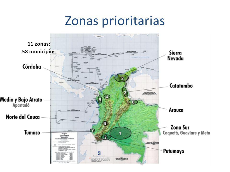 Zonas prioritarias 11 zonas: 58 municipios