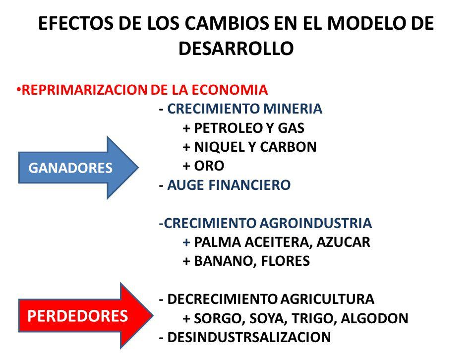 EFECTOS DE LOS CAMBIOS EN EL MODELO DE DESARROLLO REPRIMARIZACION DE LA ECONOMIA - CRECIMIENTO MINERIA + PETROLEO Y GAS + NIQUEL Y CARBON + ORO - AUGE FINANCIERO -CRECIMIENTO AGROINDUSTRIA + PALMA ACEITERA, AZUCAR + BANANO, FLORES - DECRECIMIENTO AGRICULTURA + SORGO, SOYA, TRIGO, ALGODON - DESINDUSTRSALIZACION GANADORES PERDEDORES
