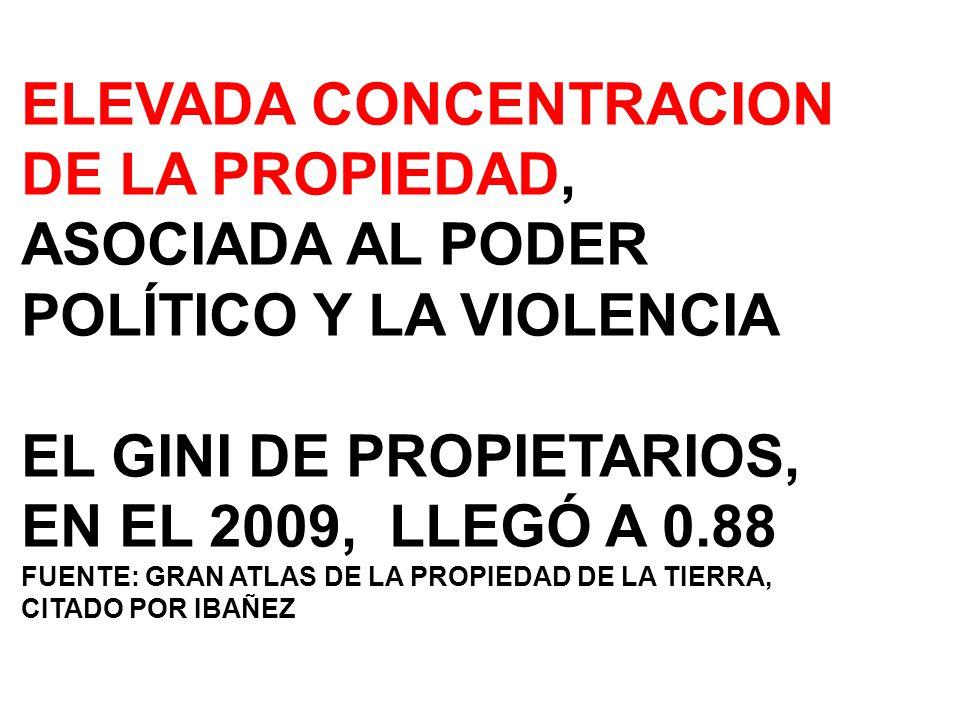 ELEVADA CONCENTRACION DE LA PROPIEDAD, ASOCIADA AL PODER POLÍTICO Y LA VIOLENCIA EL GINI DE PROPIETARIOS, EN EL 2009, LLEGÓ A 0.88 FUENTE: GRAN ATLAS DE LA PROPIEDAD DE LA TIERRA, CITADO POR IBAÑEZ