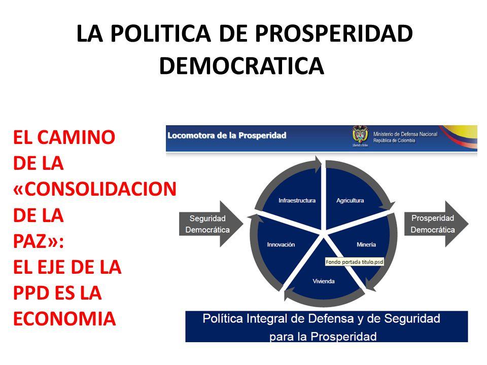 LA POLITICA DE PROSPERIDAD DEMOCRATICA EL CAMINO DE LA «CONSOLIDACION DE LA PAZ»: EL EJE DE LA PPD ES LA ECONOMIA