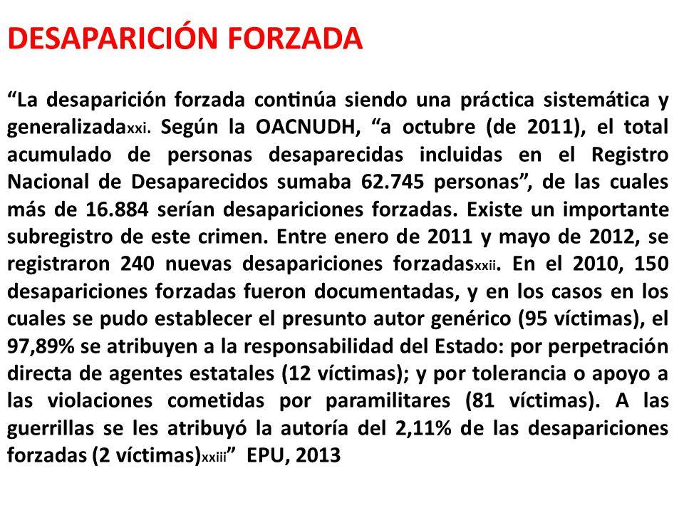 DESAPARICIÓN FORZADA La desaparición forzada continúa siendo una práctica sistemática y generalizada xxi.