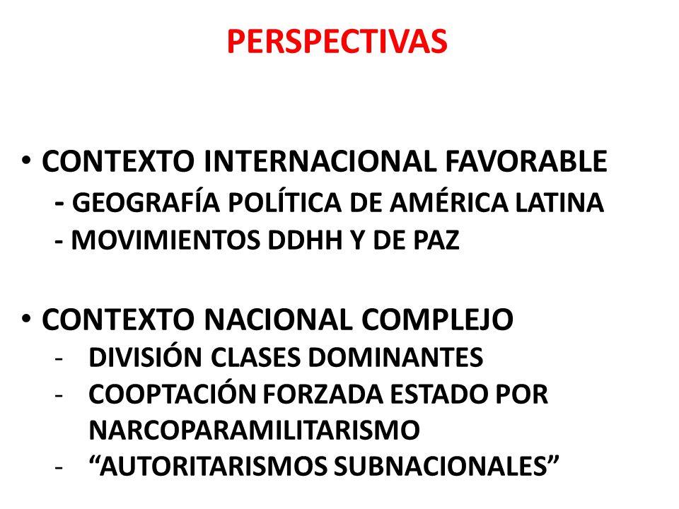 PERSPECTIVAS CONTEXTO INTERNACIONAL FAVORABLE - GEOGRAFÍA POLÍTICA DE AMÉRICA LATINA - MOVIMIENTOS DDHH Y DE PAZ CONTEXTO NACIONAL COMPLEJO -DIVISIÓN CLASES DOMINANTES -COOPTACIÓN FORZADA ESTADO POR NARCOPARAMILITARISMO -AUTORITARISMOS SUBNACIONALES