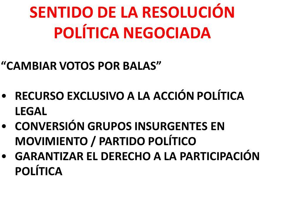 SENTIDO DE LA RESOLUCIÓN POLÍTICA NEGOCIADA CAMBIAR VOTOS POR BALAS RECURSO EXCLUSIVO A LA ACCIÓN POLÍTICA LEGAL CONVERSIÓN GRUPOS INSURGENTES EN MOVIMIENTO / PARTIDO POLÍTICO GARANTIZAR EL DERECHO A LA PARTICIPACIÓN POLÍTICA