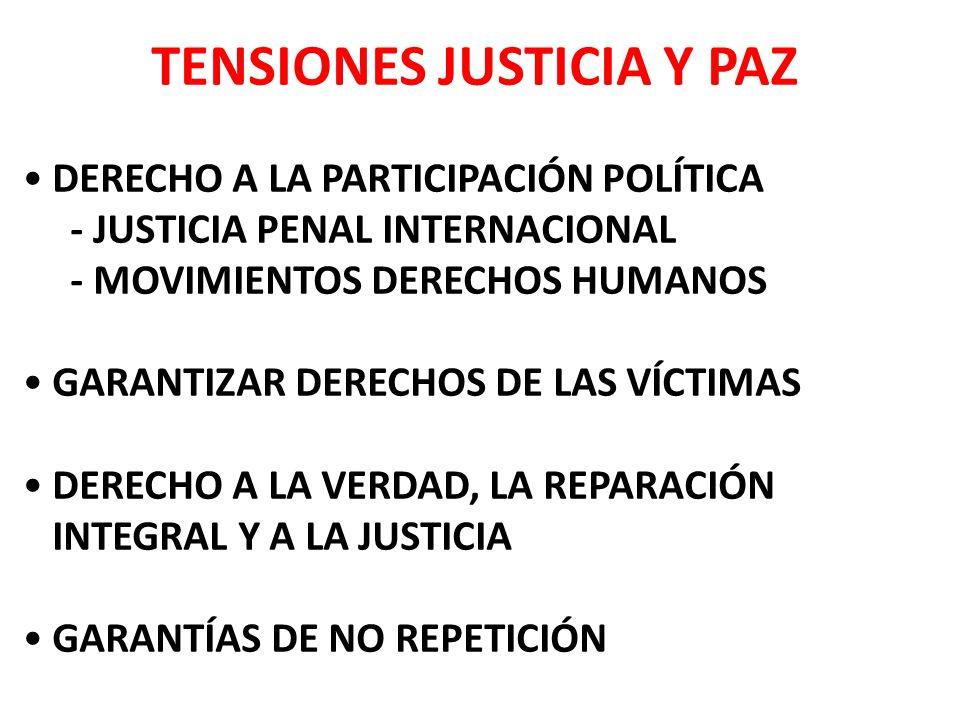 TENSIONES JUSTICIA Y PAZ DERECHO A LA PARTICIPACIÓN POLÍTICA - JUSTICIA PENAL INTERNACIONAL - MOVIMIENTOS DERECHOS HUMANOS GARANTIZAR DERECHOS DE LAS VÍCTIMAS DERECHO A LA VERDAD, LA REPARACIÓN INTEGRAL Y A LA JUSTICIA GARANTÍAS DE NO REPETICIÓN