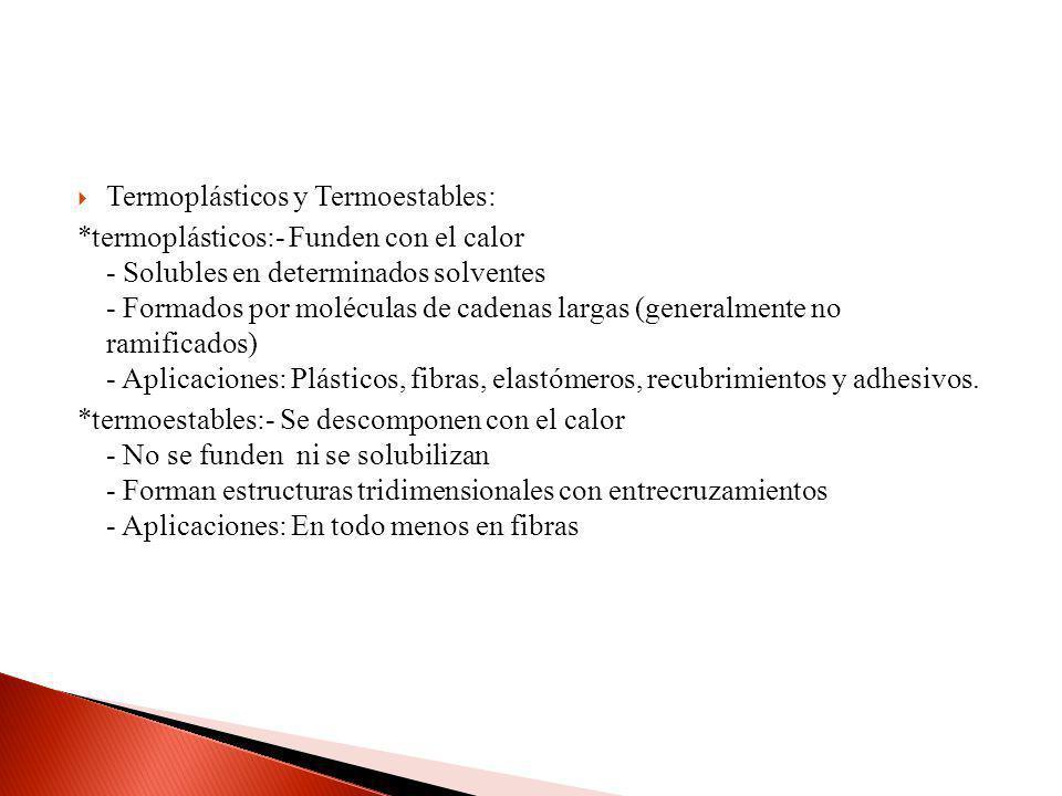 Termoplásticos y Termoestables: *termoplásticos:- Funden con el calor - Solubles en determinados solventes - Formados por moléculas de cadenas largas