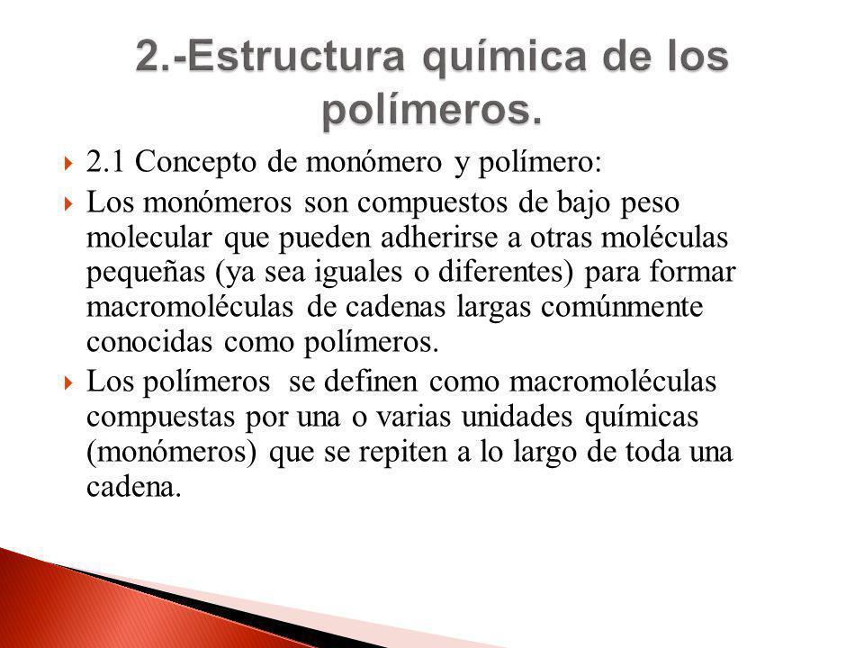 2.1 Concepto de monómero y polímero: Los monómeros son compuestos de bajo peso molecular que pueden adherirse a otras moléculas pequeñas (ya sea igual