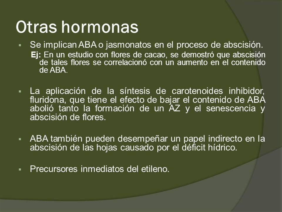 Otras hormonas Se implican ABA o jasmonatos en el proceso de abscisión. Ej: En un estudio con flores de cacao, se demostró que abscisión de tales flor