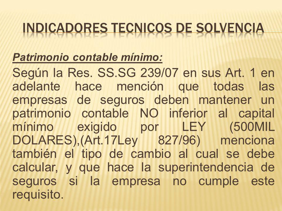Patrimonio contable mínimo: Según la Res. SS.SG 239/07 en sus Art. 1 en adelante hace mención que todas las empresas de seguros deben mantener un patr