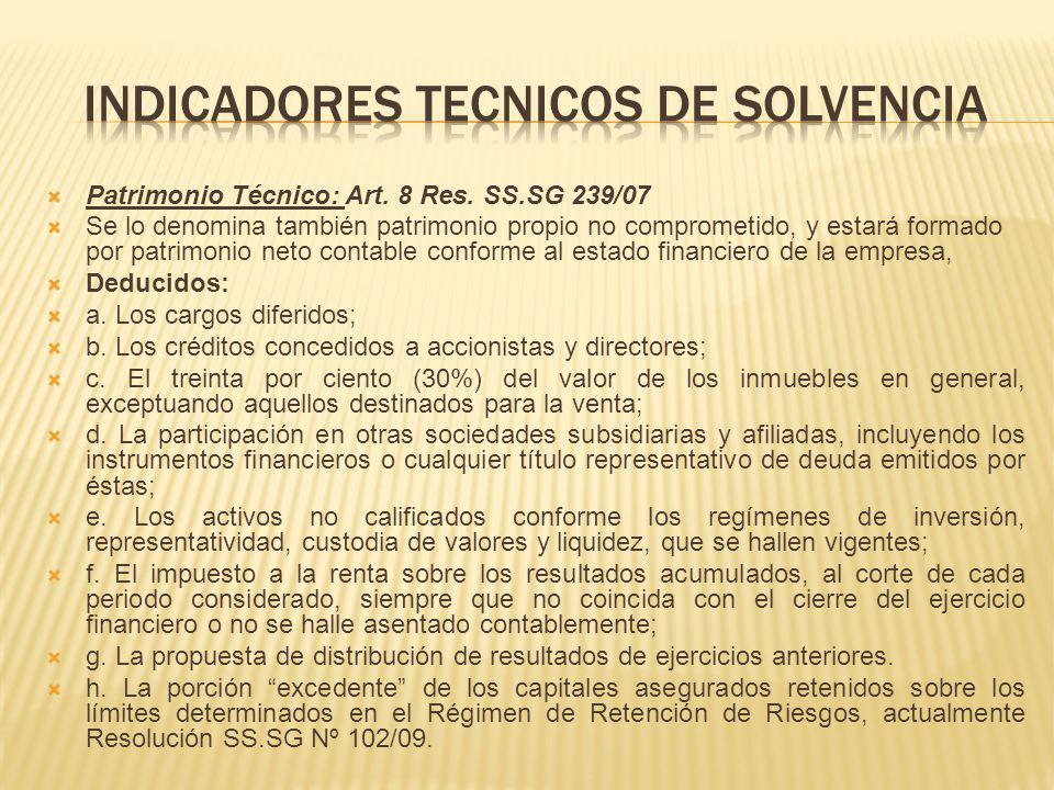 Patrimonio Técnico: Art. 8 Res. SS.SG 239/07 Se lo denomina también patrimonio propio no comprometido, y estará formado por patrimonio neto contable c