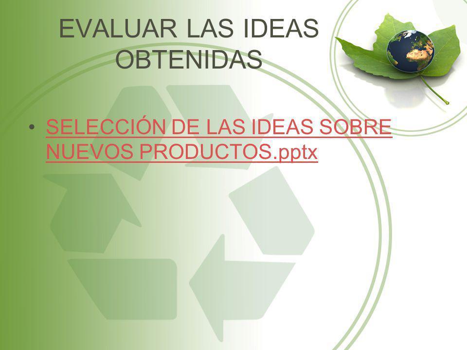 EVALUAR LAS IDEAS OBTENIDAS SELECCIÓN DE LAS IDEAS SOBRE NUEVOS PRODUCTOS.pptxSELECCIÓN DE LAS IDEAS SOBRE NUEVOS PRODUCTOS.pptx