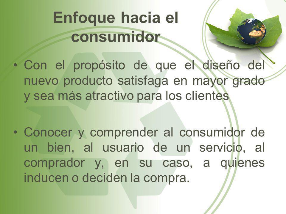 Enfoque hacia el consumidor Con el propósito de que el diseño del nuevo producto satisfaga en mayor grado y sea más atractivo para los clientes Conoce