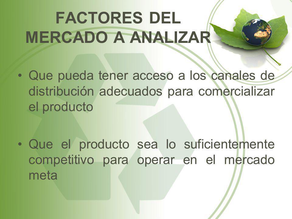 Que pueda tener acceso a los canales de distribución adecuados para comercializar el producto Que el producto sea lo suficientemente competitivo para