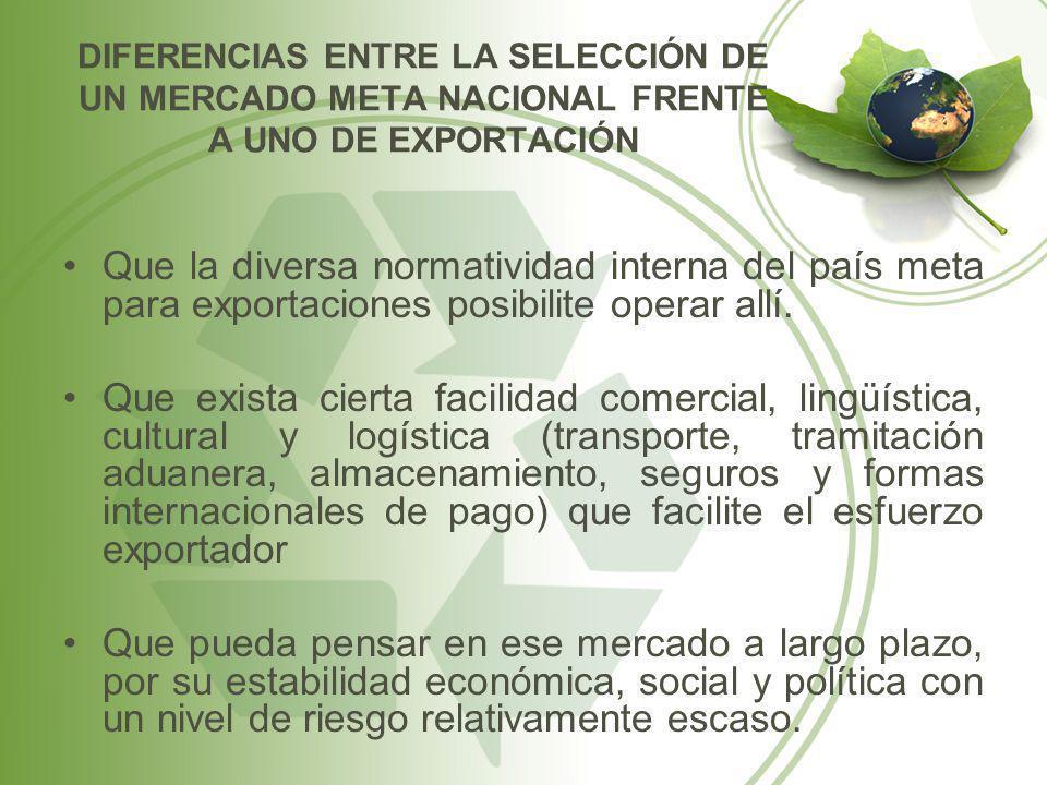 Que la diversa normatividad interna del país meta para exportaciones posibilite operar allí. Que exista cierta facilidad comercial, lingüística, cultu