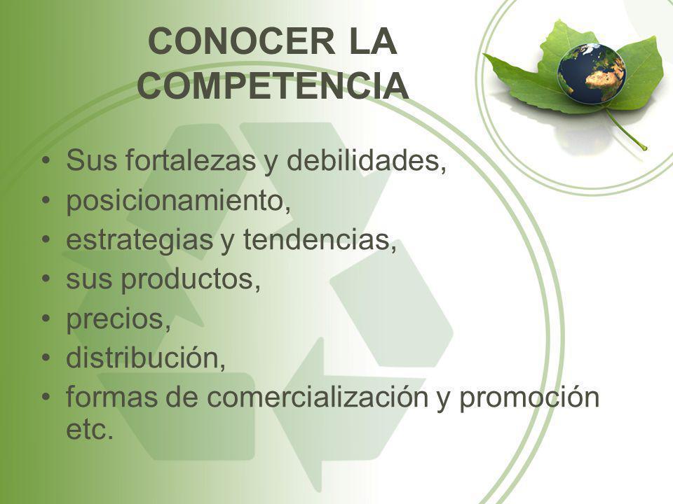 CONOCER LA COMPETENCIA Sus fortalezas y debilidades, posicionamiento, estrategias y tendencias, sus productos, precios, distribución, formas de comerc