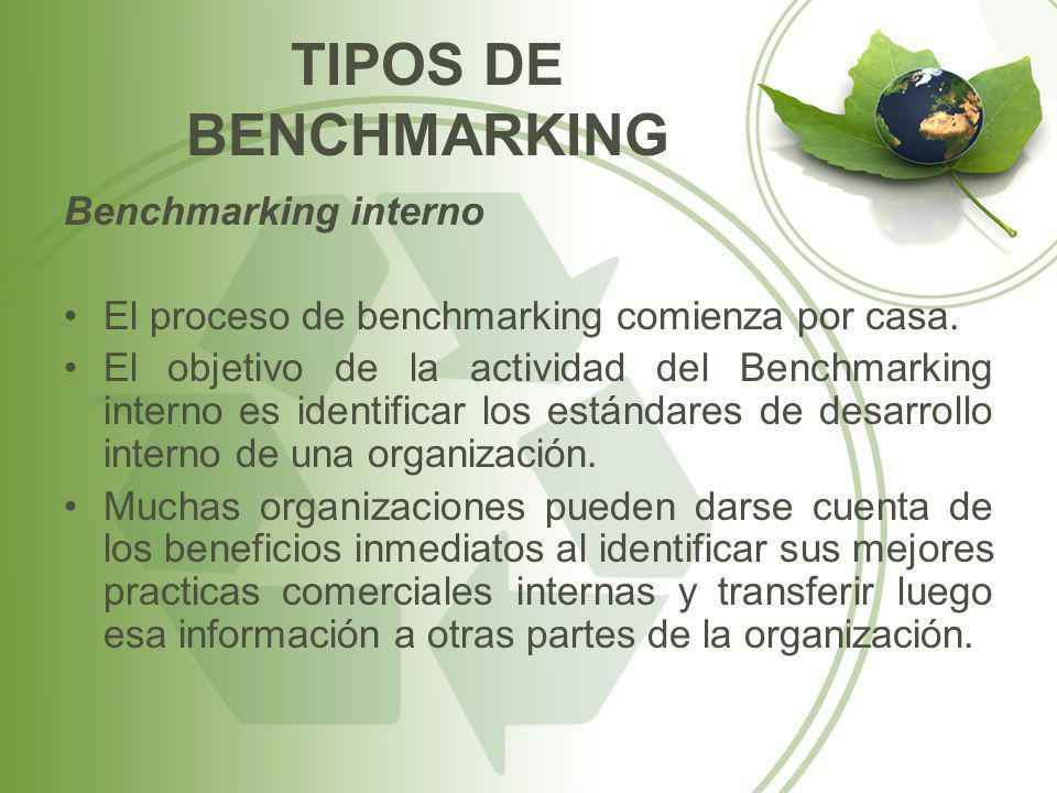 TIPOS DE BENCHMARKING Benchmarking interno El proceso de benchmarking comienza por casa. El objetivo de la actividad del Benchmarking interno es ident