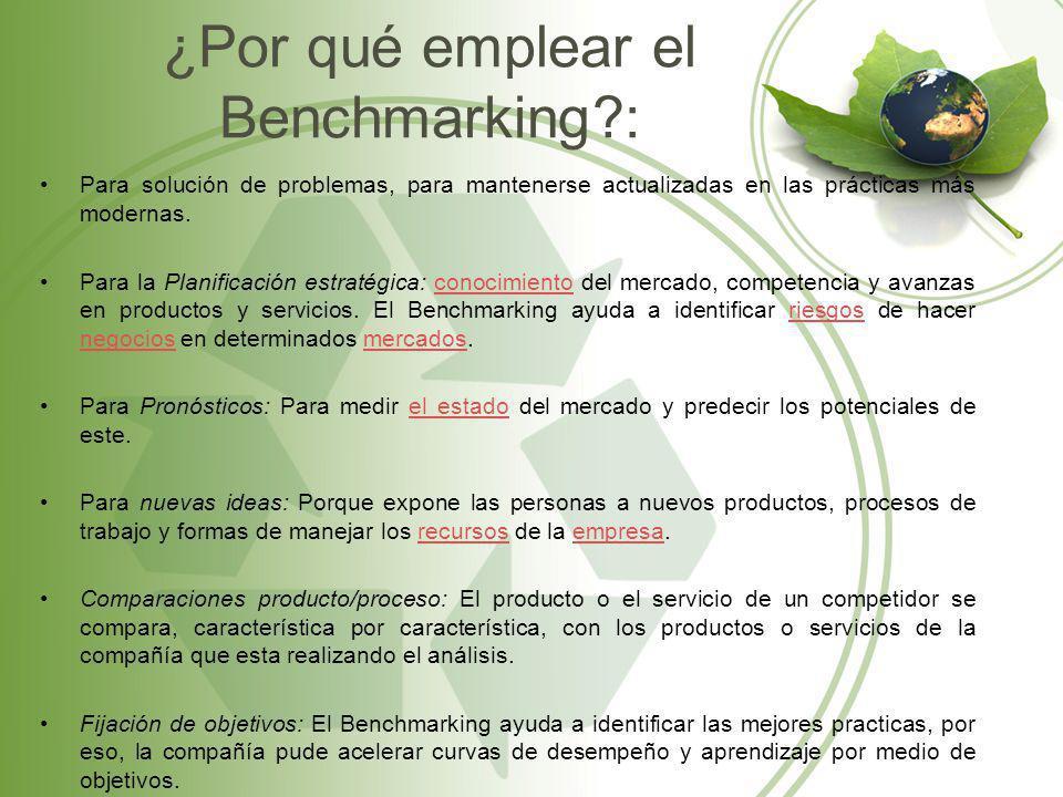 ¿Por qué emplear el Benchmarking?: Para solución de problemas, para mantenerse actualizadas en las prácticas más modernas. Para la Planificación estra