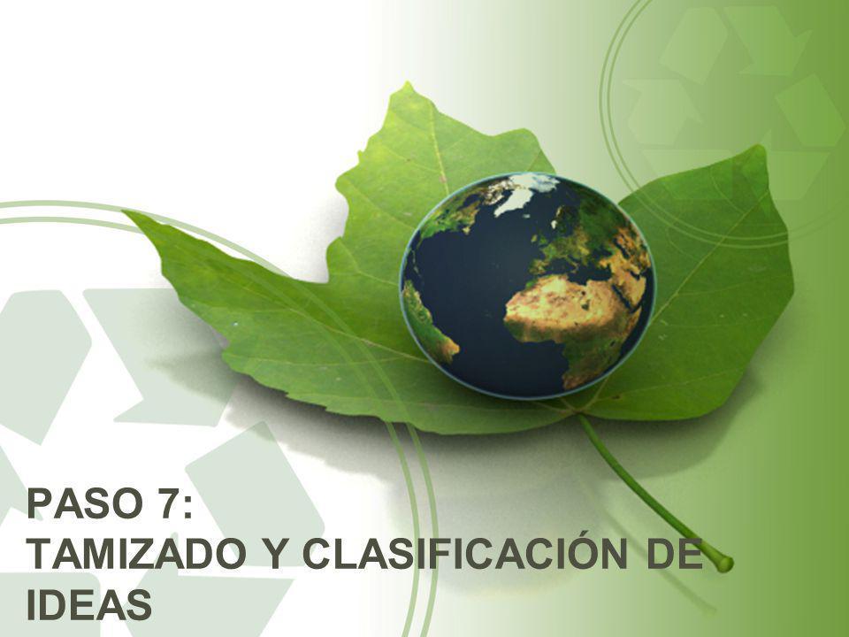 PASO 7: TAMIZADO Y CLASIFICACIÓN DE IDEAS