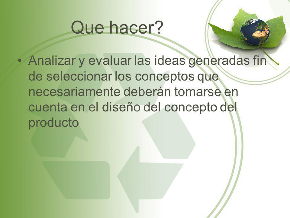 Que hacer? Analizar y evaluar las ideas generadas fin de seleccionar los conceptos que necesariamente deberán tomarse en cuenta en el diseño del conce