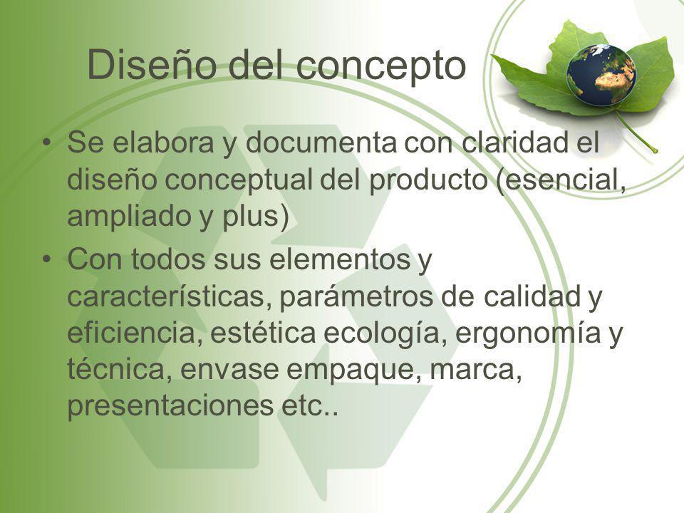 Diseño del concepto Se elabora y documenta con claridad el diseño conceptual del producto (esencial, ampliado y plus) Con todos sus elementos y caract
