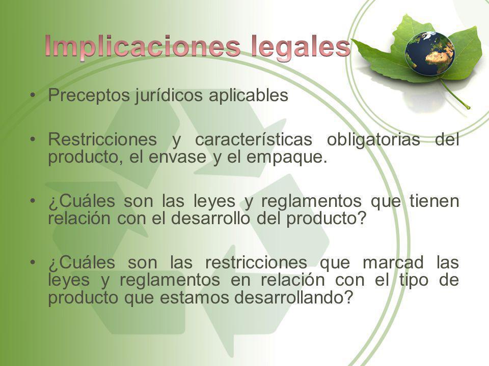 Preceptos jurídicos aplicables Restricciones y características obligatorias del producto, el envase y el empaque. ¿Cuáles son las leyes y reglamentos