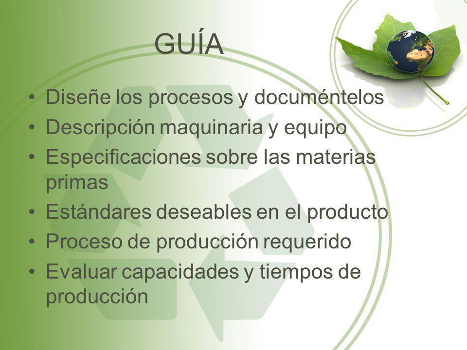GUÍA Diseñe los procesos y documéntelos Descripción maquinaria y equipo Especificaciones sobre las materias primas Estándares deseables en el producto