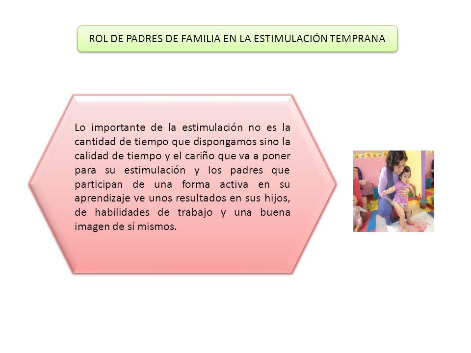ROL DE PADRES DE FAMILIA EN LA ESTIMULACIÓN TEMPRANA ROL DE PADRES DE FAMILIA EN LA ESTIMULACIÓN TEMPRANA Lo importante de la estimulación no es la cantidad de tiempo que dispongamos sino la calidad de tiempo y el cariño que va a poner para su estimulación y los padres que participan de una forma activa en su aprendizaje ve unos resultados en sus hijos, de habilidades de trabajo y una buena imagen de sí mismos.