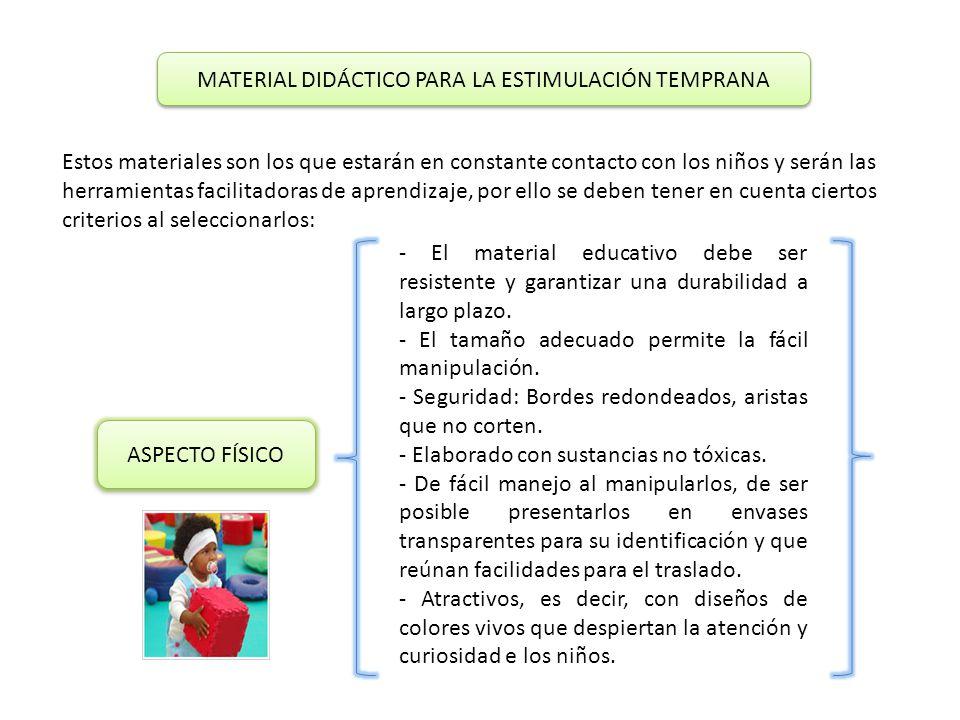MATERIAL DIDÁCTICO PARA LA ESTIMULACIÓN TEMPRANA Estos materiales son los que estarán en constante contacto con los niños y serán las herramientas facilitadoras de aprendizaje, por ello se deben tener en cuenta ciertos criterios al seleccionarlos: ASPECTO FÍSICO - El material educativo debe ser resistente y garantizar una durabilidad a largo plazo.